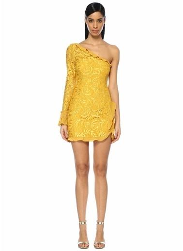 Alexis Tek Kollu Dantelli Mini Abiye Elbise Sarı